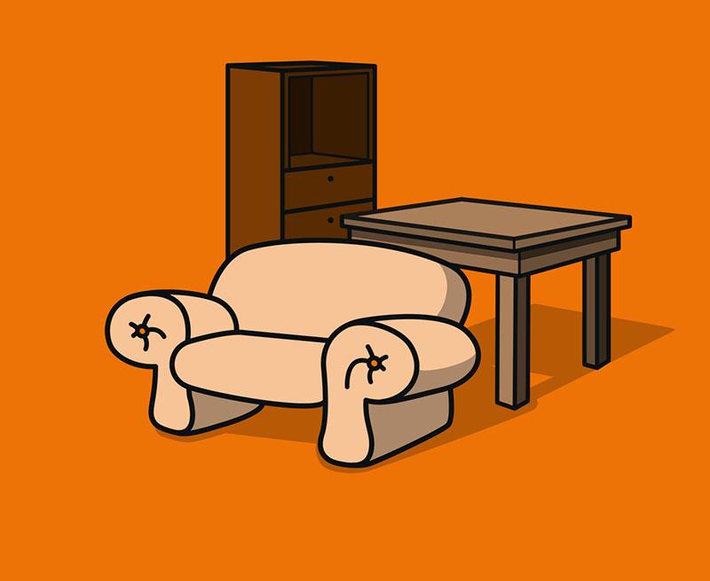 Wohnzimmerschrank u. a.